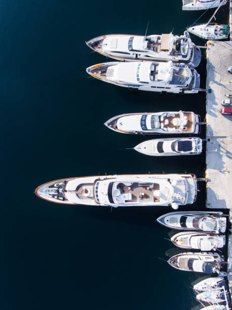Yachts marina aerial view by drone stock photo