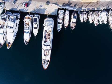 istock Yachts marina aerial view by drone 832519798