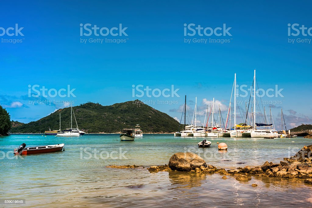 Yachts Marina at Praslin island Seychelles stock photo