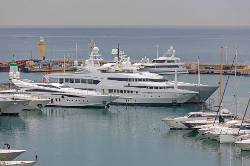 Moored Yachts at Marina Cannes Franch Riviera Winter