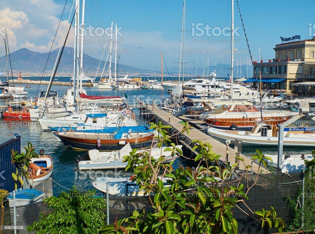 Yachts moored in Borgo Marinari harbor. Naples, Italy. stock photo