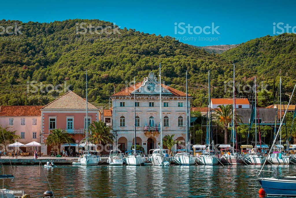 Yachts moored in marina on Hvar island, Croatia stock photo