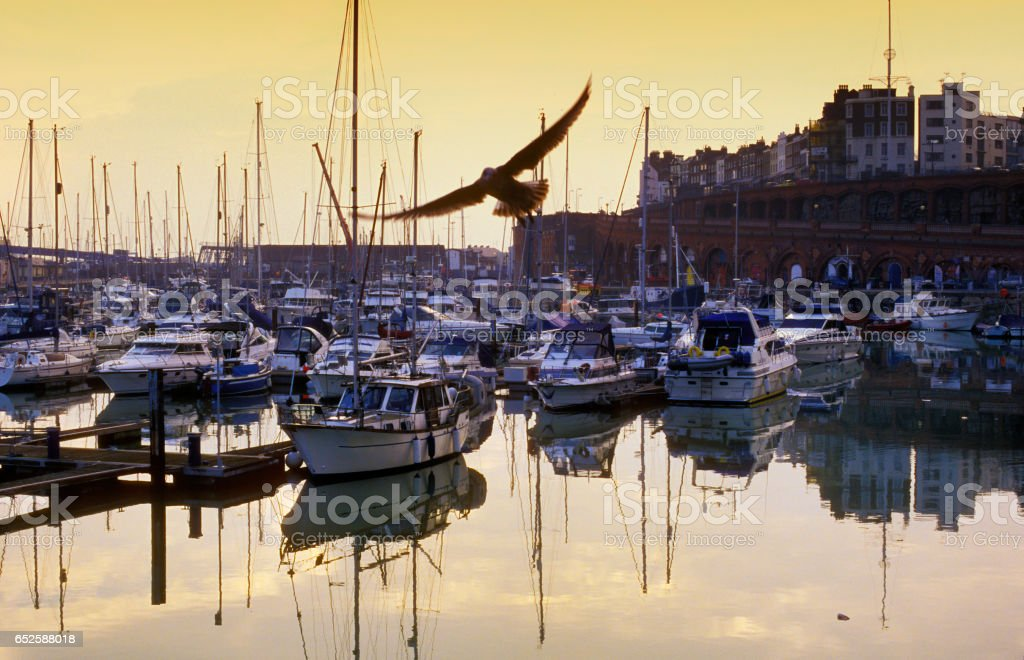 Yachts moored in port stock photo