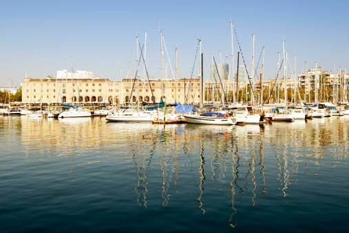 Yachts moored in Port Vell, Barcelona