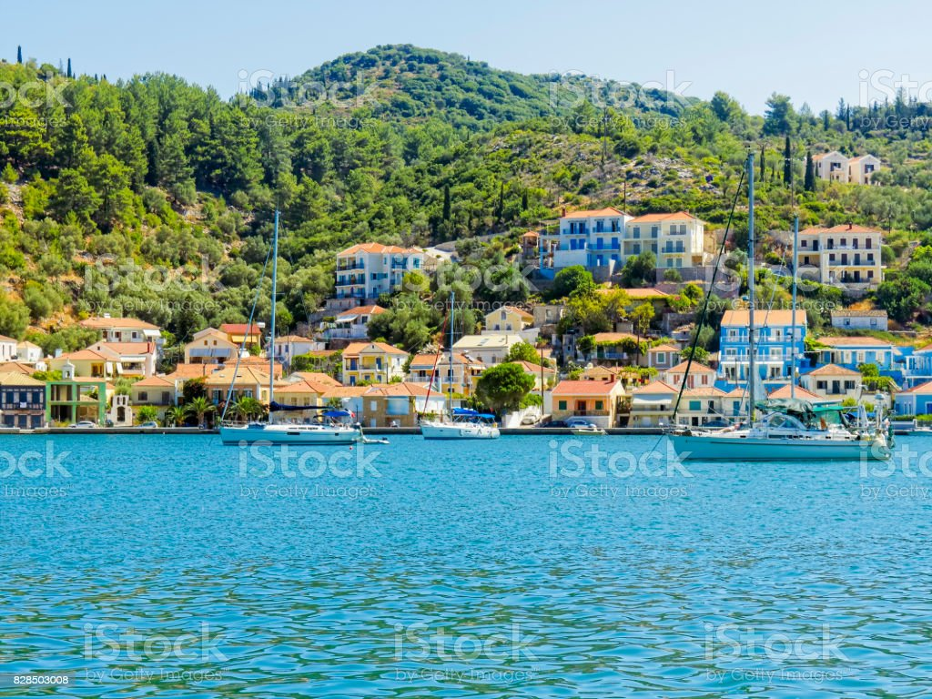 Yachts moored in Vithi, on the Greek island of  Ithaca. stock photo