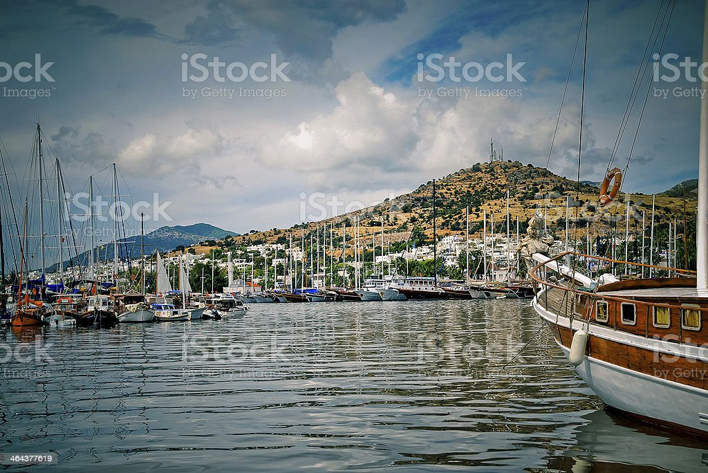 yachts on an anchor in harbor royalty-free stock photo