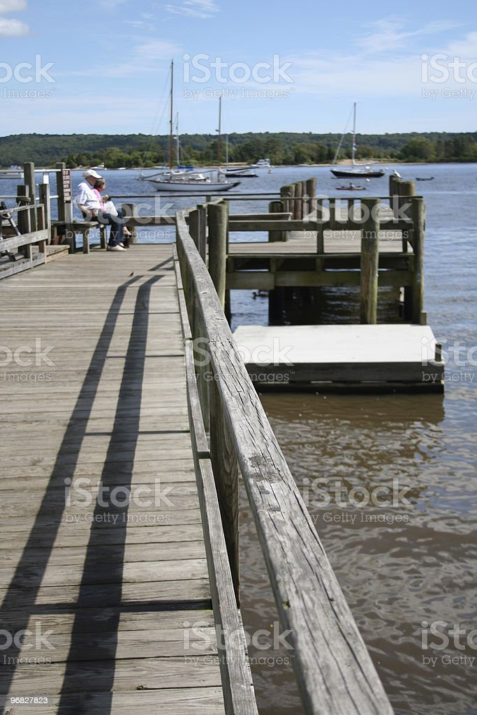 Yachts on mooring Pier Essex Harbor Connecticut River II stock photo