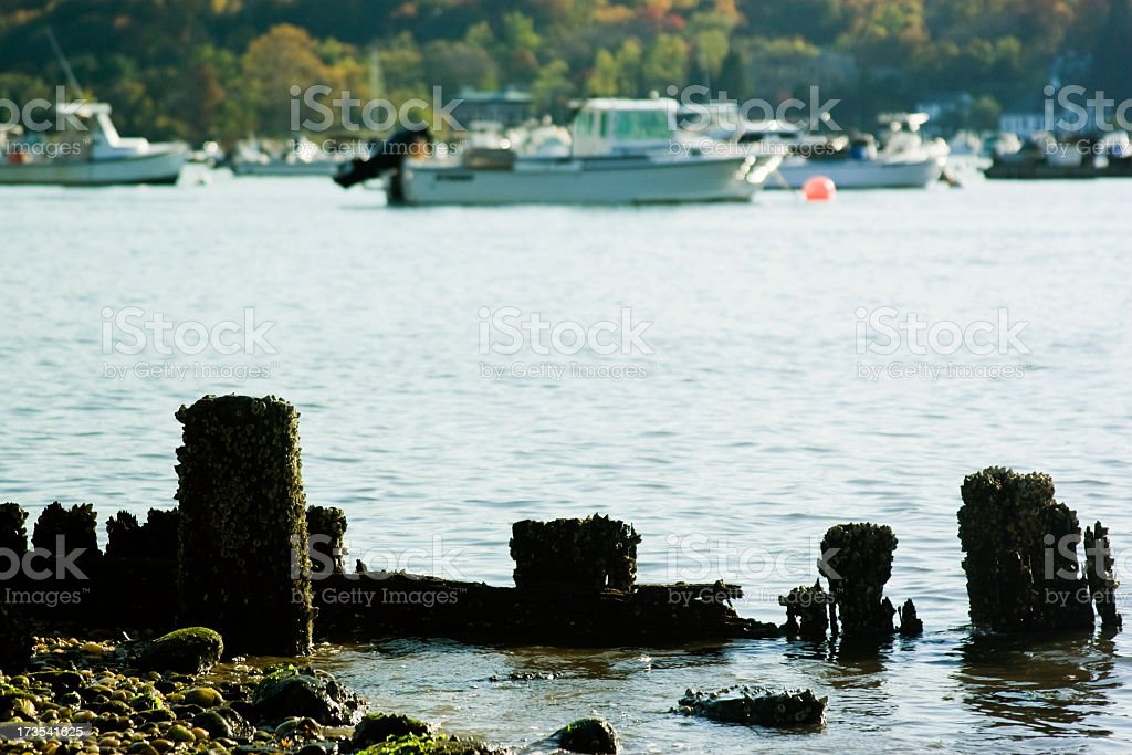 Yachts on the moorage stock photo