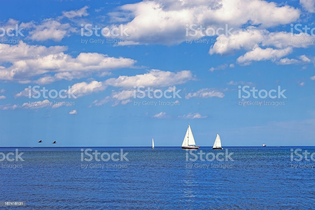 Yachts on the sea royalty-free stock photo