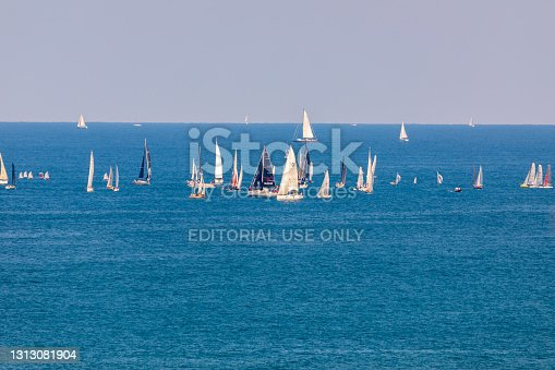 Tel Aviv, Israel - Sep 21, 2019:  Small yachts with big sails on Mediterranean Sea