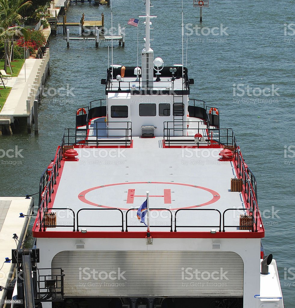 Yachts with helicopter landing pad royalty-free stock photo