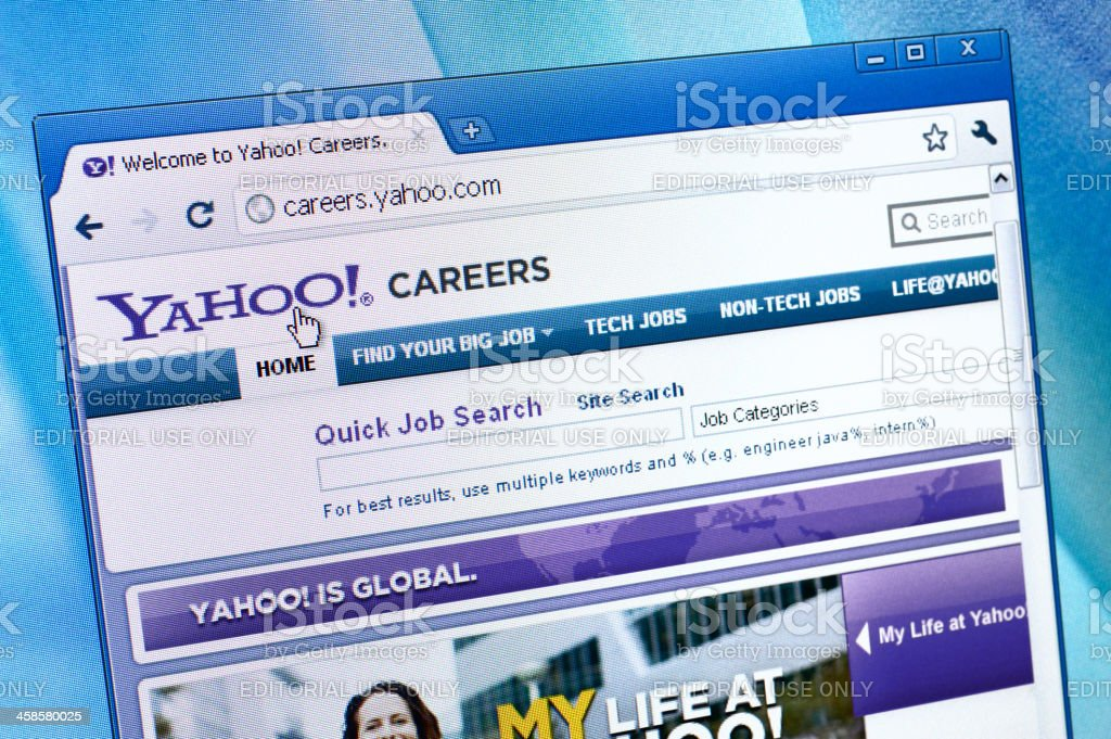 Yahoo Careers website on the browser royalty-free stock photo