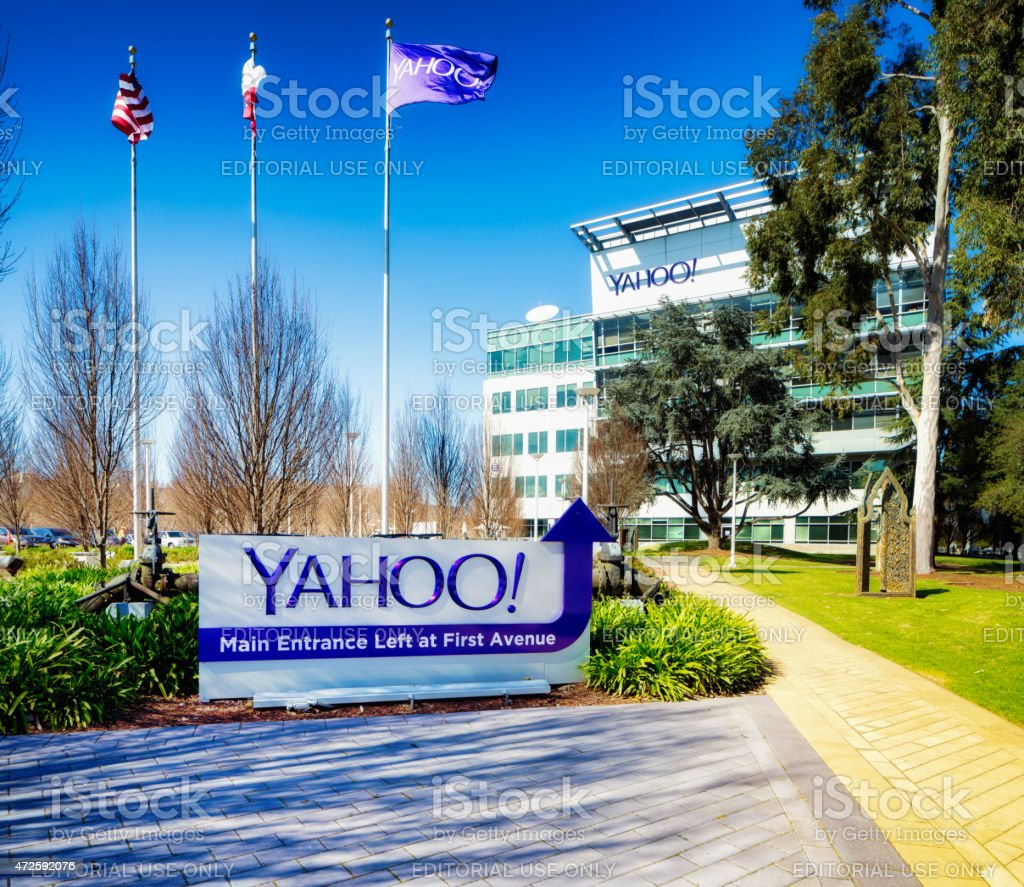 Yahoo corporate headquarters side entrance sign with flags and pathway stock photo