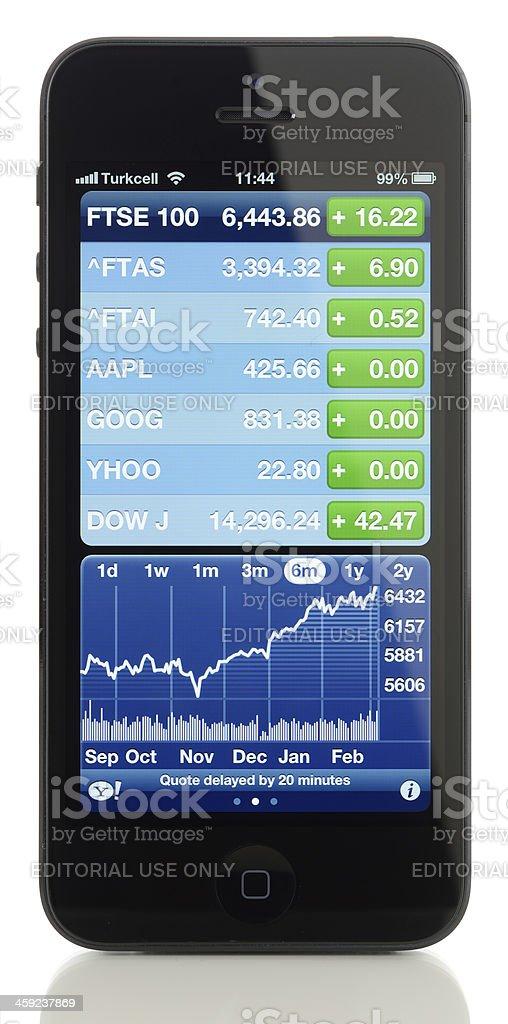 Yahoo Finance on Apple iPhone 5 stock photo