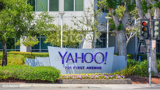 Sunnyvale, CA, USA - Apr. 23, 2016: Yahoo Inc. Headquarters. Yahoo Inc. is an American multinational technology company that is globally known for its Web portal, search engine Yahoo! Search, and related services.