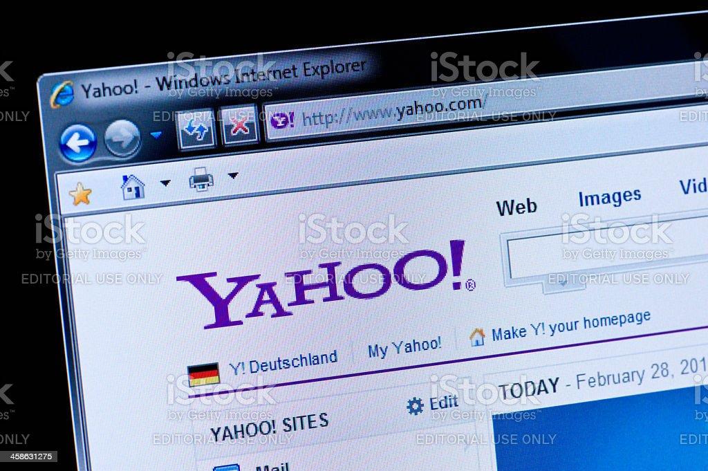 Yahoo - Macro shot of real monitor screen stock photo