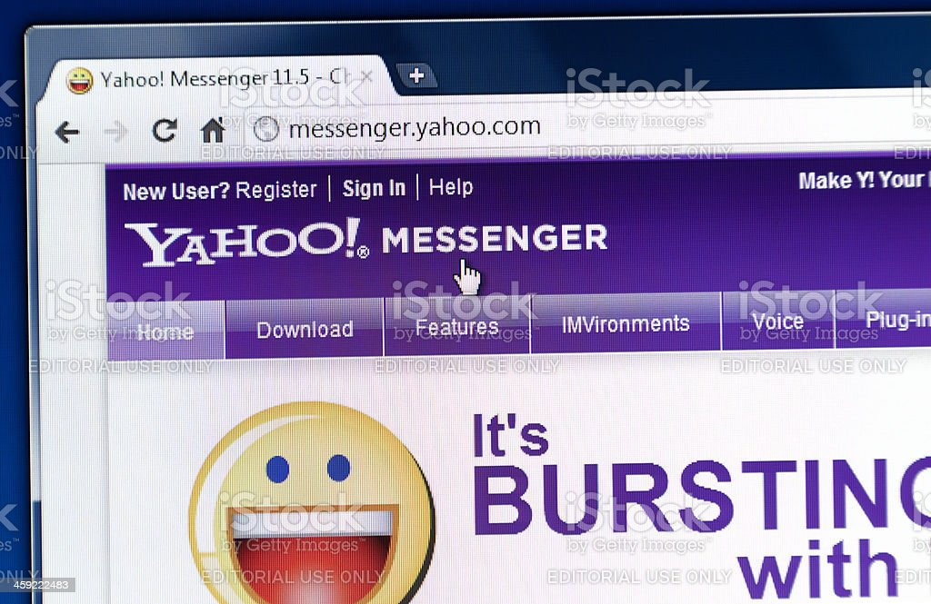 Yahoo Messenger on web browser stock photo