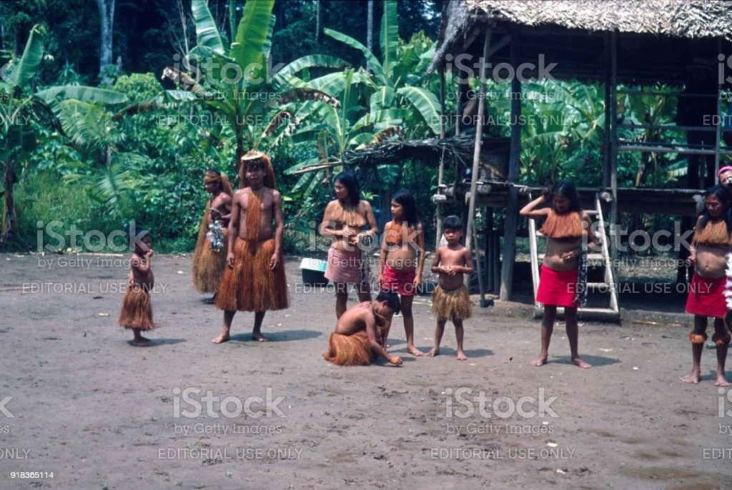 Yahu family clan in a village in the Amazon area stock photo