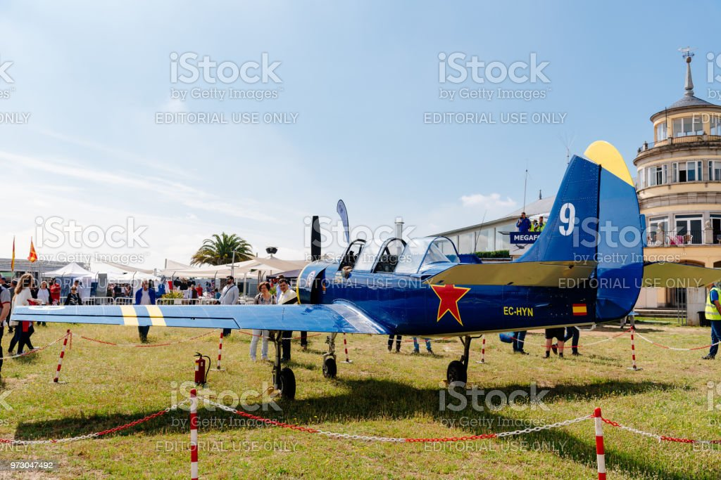 Yak 52 Russian Aerobatic Aircraft During Air Show Stock