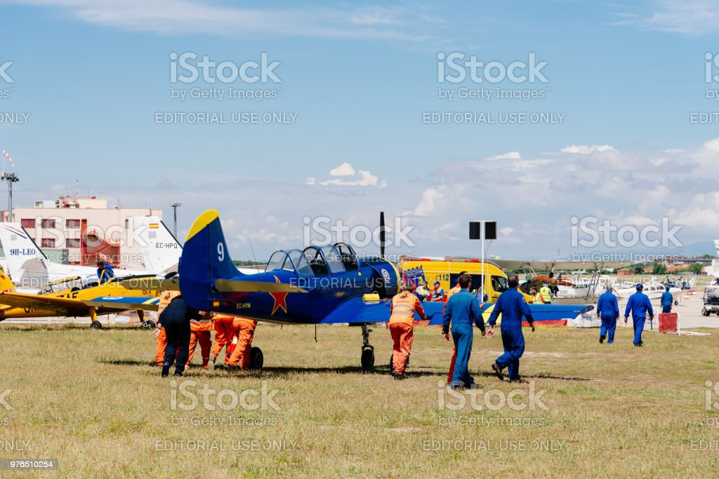 Yak 52 Russian aerobatic aircraft during air show stock photo
