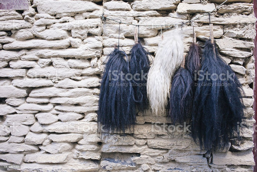 Yak tails, on sale. stock photo