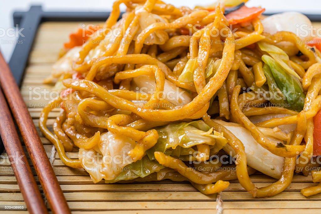 Yakisoba Japanese food on a white background. stock photo