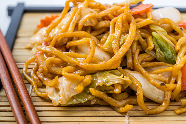 Yakisoba Japanese food on a white background. stock photo
