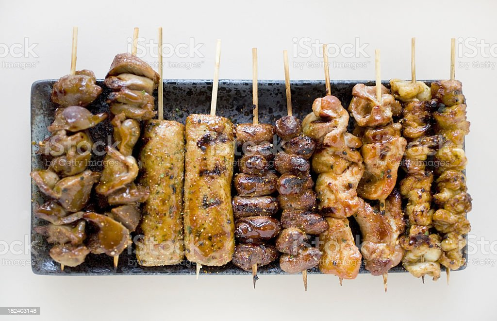 Yakitori assortment-Japanese grilled meat on skewers stock photo