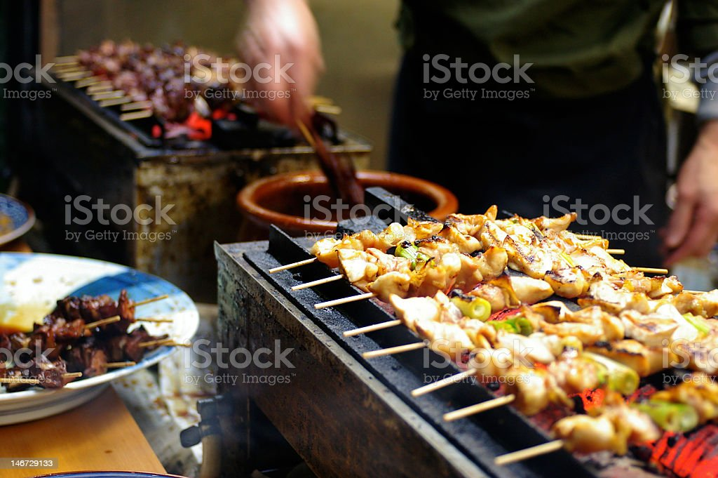 Yakitori chicken stand, Tokyo, Japan royalty-free stock photo