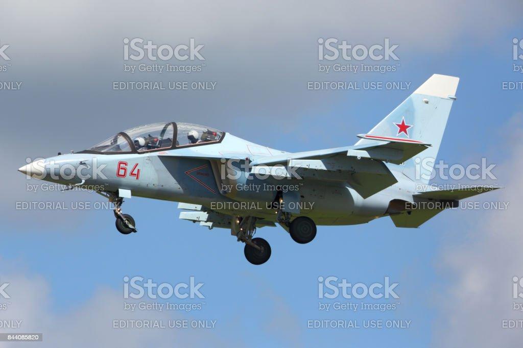 Yakovlev Yak-130 RF-44579 of russian air force landing at Kubinka air force base during Army-2015 forum stock photo