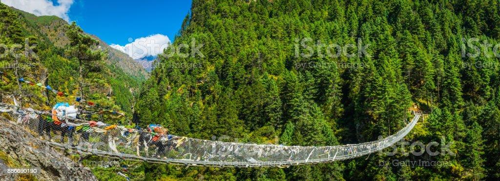 Yaks crossing rope bridge across mountain canyon panorama Himalayas Nepal stock photo