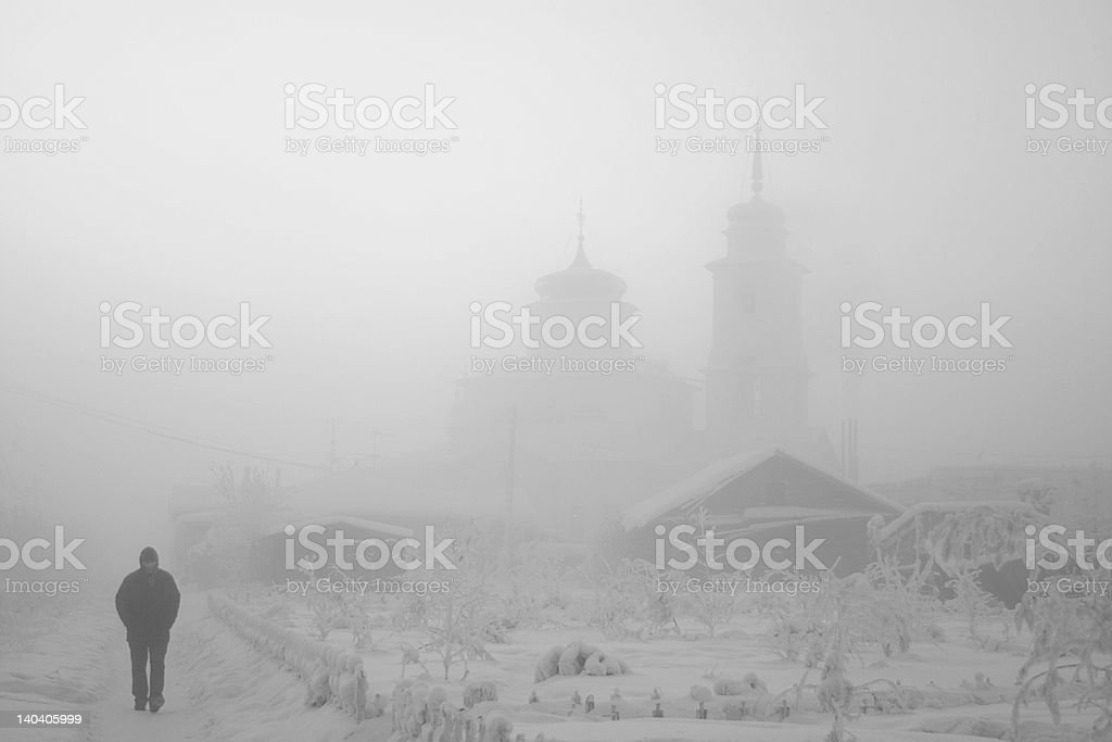 Yakutsk. Church. -51 With. stock photo