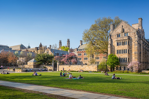 New Haven, USA - May 4, 2015: Yale University campus on April 4, 2015. It is a private Ivy League research university in New Haven, Connecticut. Founded in 1701