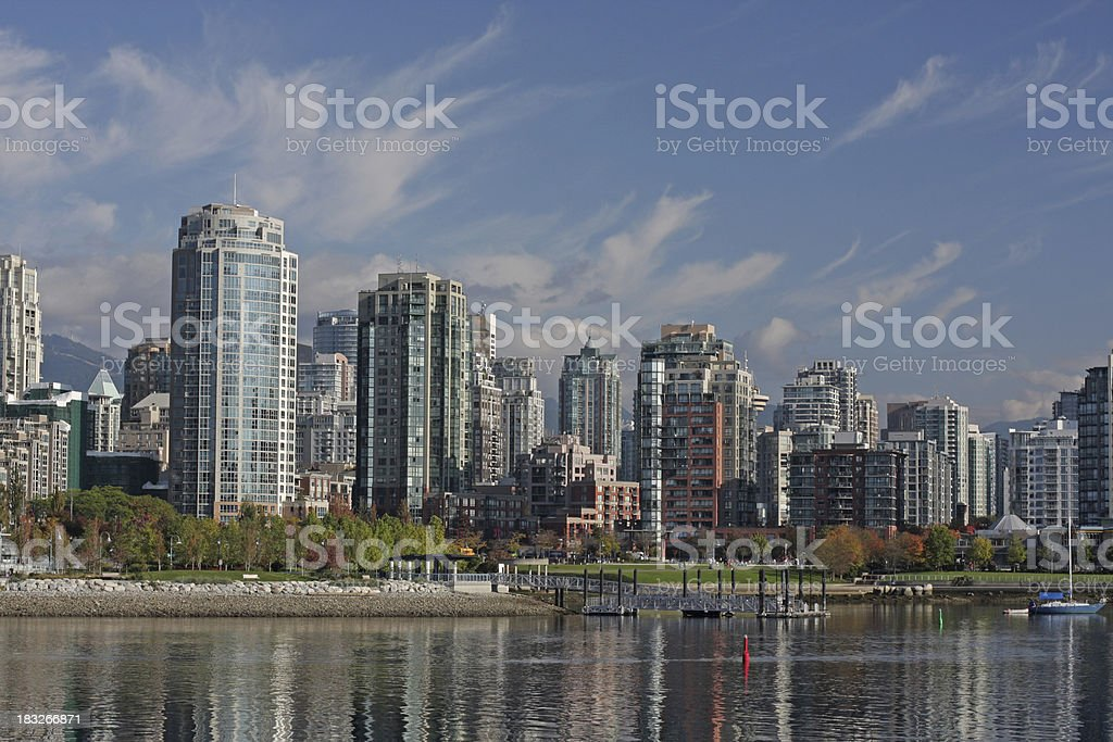 Yaletown Condos by Vancouver's False Creek, Autumn Morning in Canada royalty-free stock photo
