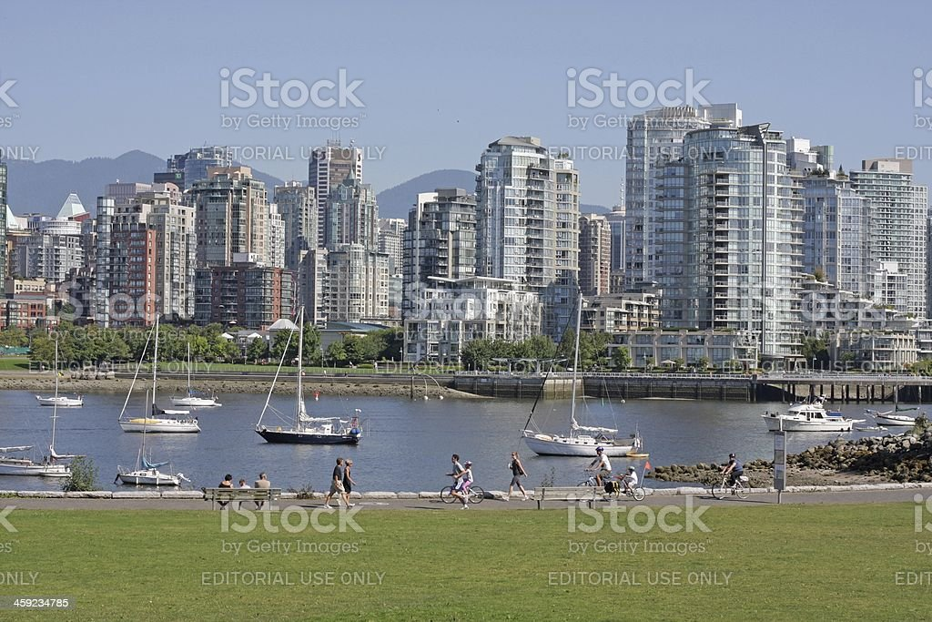 Yaletown High-Rises and Trans Canada Trail by False Creek, Vancouver royalty-free stock photo