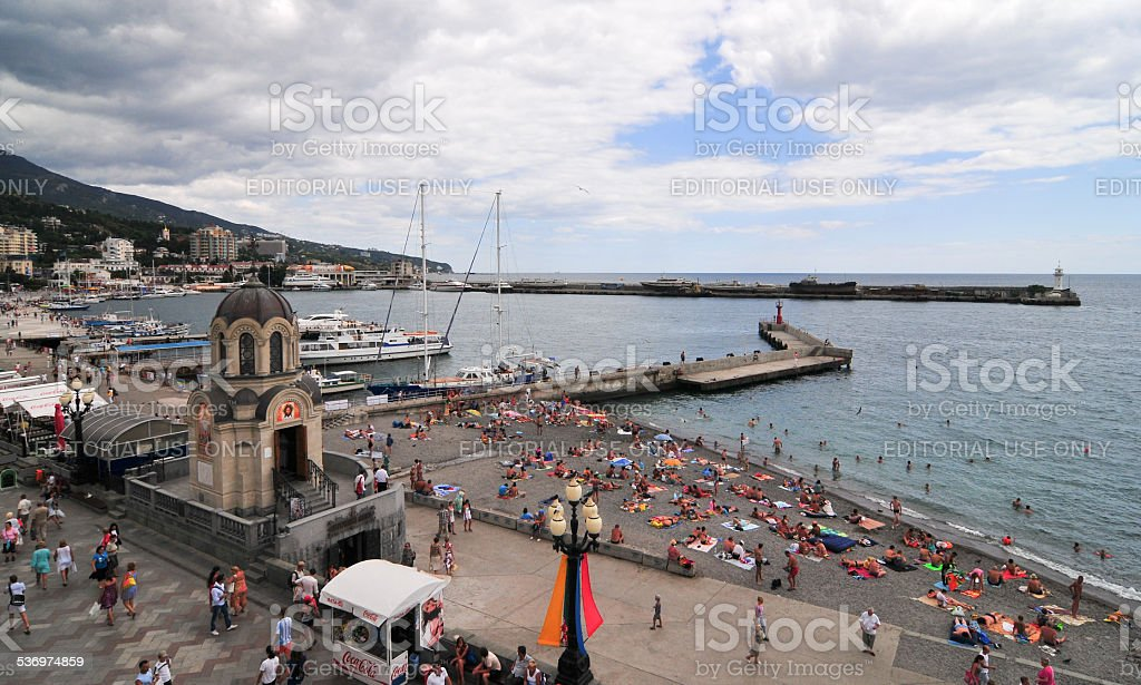 Yalta Beach, Crimea stock photo