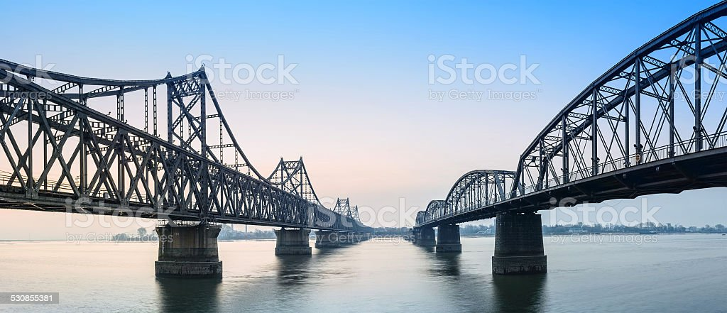 Yalu River Bridge at morning stock photo