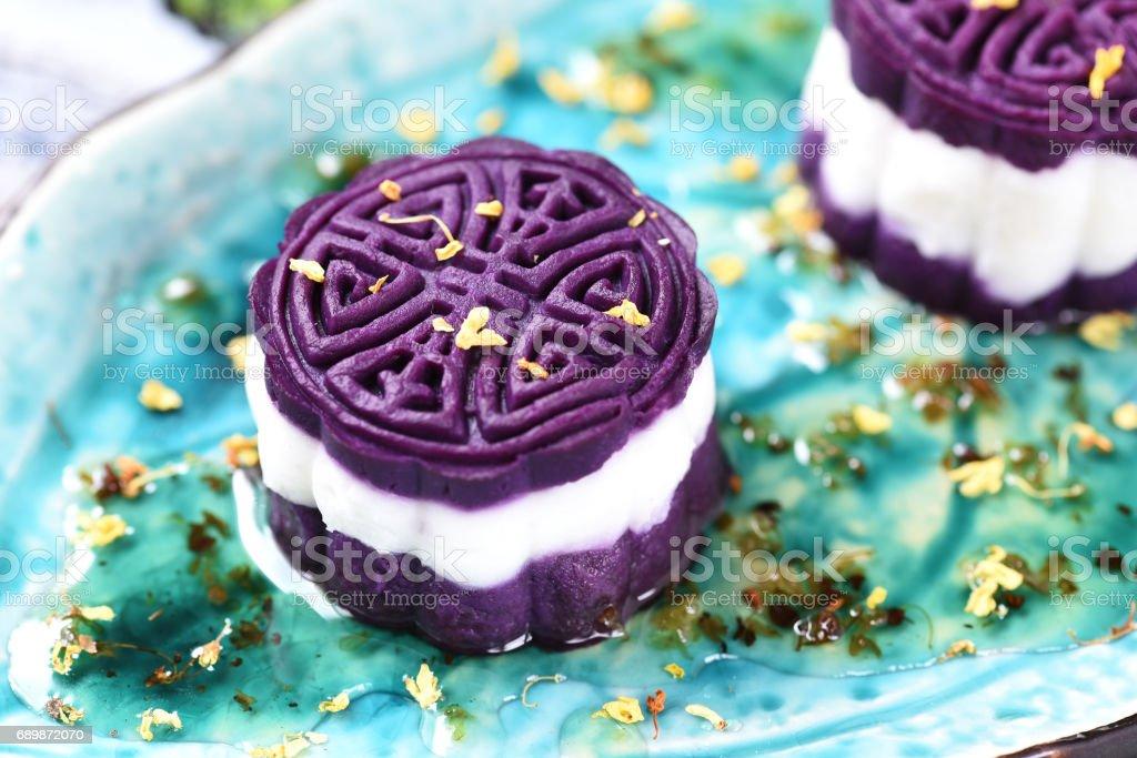 Yam and Purple Sweet Potato Cake stock photo