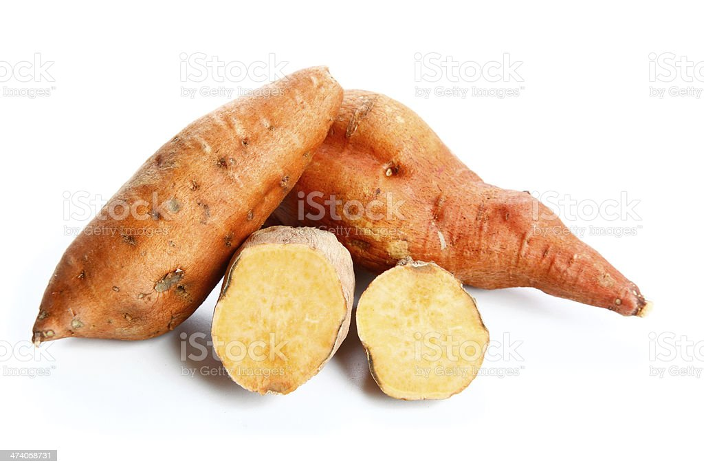 Yam on a white background royalty-free stock photo