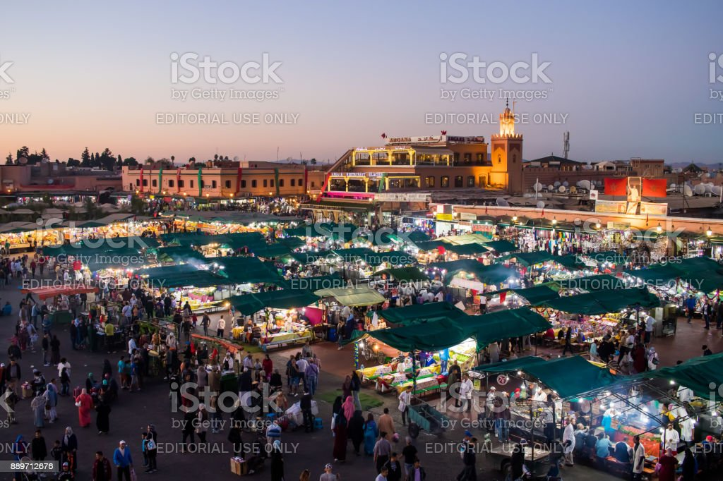 Yamaa el Fna Square - The center of public life in Marrakech stock photo