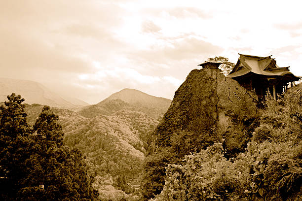 Yamadera Mountain Japan Yamadera Temple Mountain in Northern Japan. shinto stock pictures, royalty-free photos & images