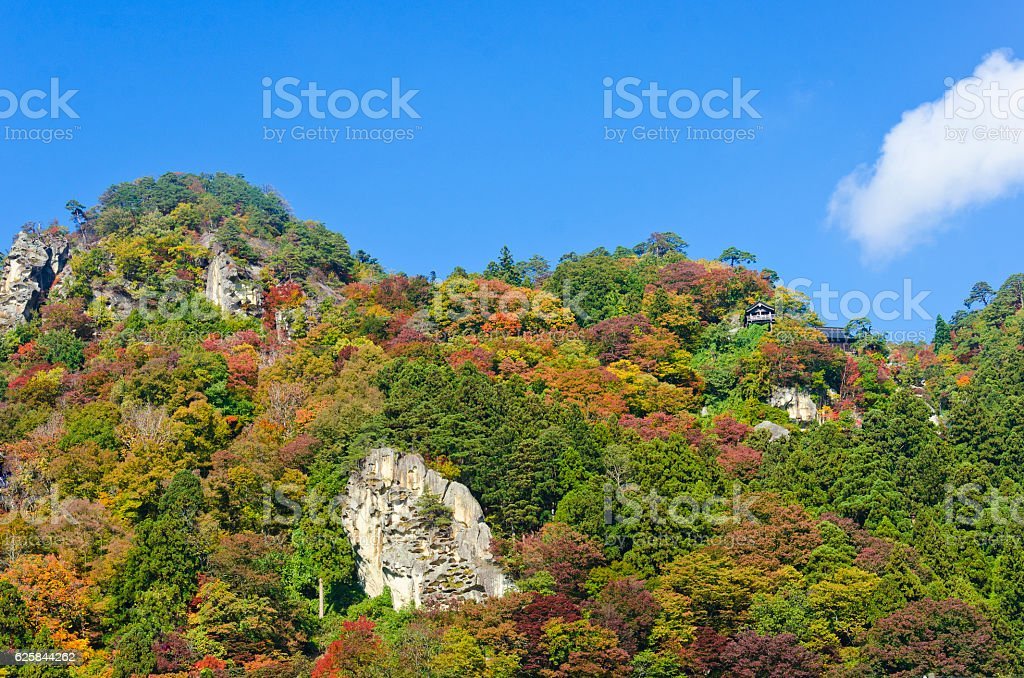 Yamadera Temple during Autumn in Yamagata, Japan stock photo