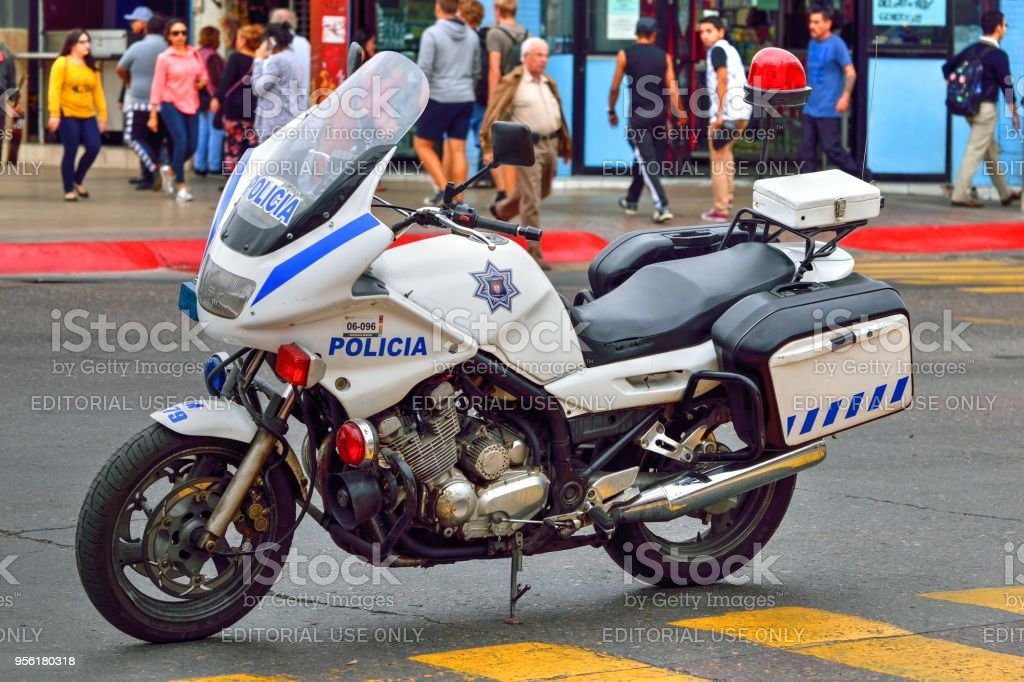 Yamaha 900cc Motorcycle In Mexican Police Livery Royalty Free Stock Photo