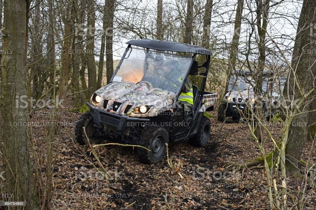 Yamaha Rhino 660 vehicles driving in the forest stock photo