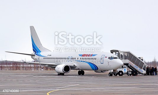 Novyy Urengoy, Russia - May 1, 2013: Yamal Airlines Boeing 737 boarded at the Novyy Urengoy International Airport.