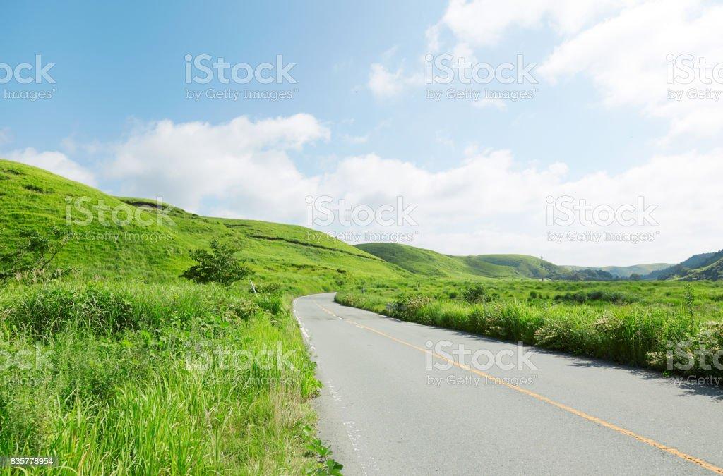 Yamanari highway at Aso city in Japan stock photo