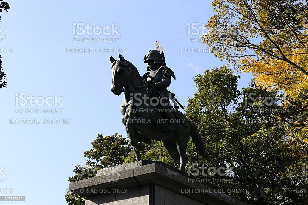 Yamanouchi Kazutoyo bronze statue of stock photo