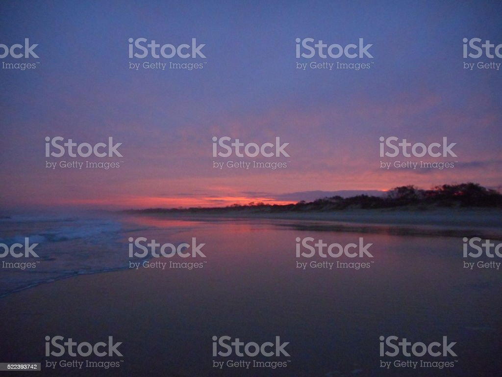 Yamba beach by night stock photo