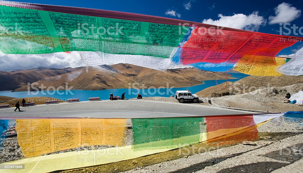Yamdrok High Pass - Turquoise Lake - Tibet stock photo