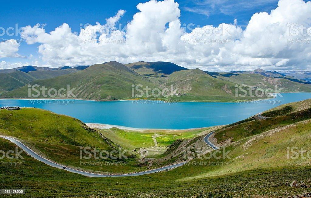 Yamdrok Lake at tibet,china stock photo